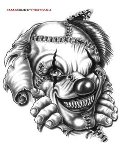 Black And White Monster Clown Tattoo Design Evil Clown Tattoos, Scary Tattoos, Skull Tattoos, Body Art Tattoos, Sleeve Tattoos, Badass Drawings, Demon Drawings, Dark Art Drawings, Tattoo Drawings