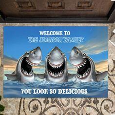 Shark DoormatShark Family Welcome Personalized Doormat Funny | Etsy Wolf Boy Anime, Wolf Background, Cute Wolf Drawings, Funny Wolf, Funny Welcome Mat, Wolf Illustration, Shark Family, Door Rugs, Entrance Rug