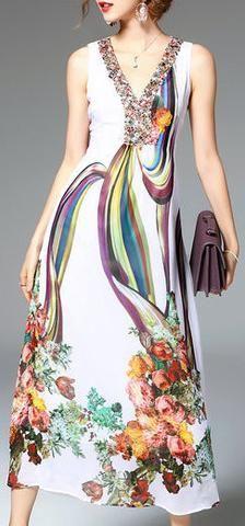 Bead-Embellished Print Midi Dress