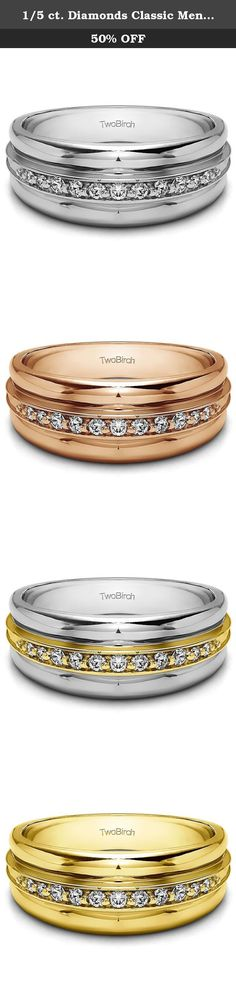 1/5 ct. Diamonds Classic Mens Ring or Mens Wedding Ring in Silver (0.2 ct. twt.). Nothing says classic mens wedding ring like a simple channel set row of round stones. This ring is perfect for the gentleman that likes classic designs and steers away from the trendy designer mens rings. This mens wedding ring is perfect for the traditional man and can also be worn as a cool mens fashion ring. At TwoBirch, our rings are built to last a life time. Gorgeous Diamonds G-H I2-I3 is set into…