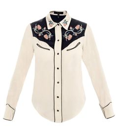 Lauryn cow-girl shirt  by Isabel Marant. Cream centre-front buttoned curved hem navy piped edge/shoulder panel red/pink/green/blue embroidered floral two chest jet pocket long sleeve buttoned cuff soft collar shirt. Material: 58% viscose and 42% acetate; 67% viscose and 33% cotton, dry clean. #Matchesfashion