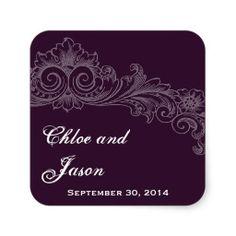 Custom Eggplant Purple Vintage Floral Wedding Sticker