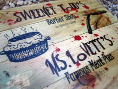 Sweeney Todd Halloween Hand Painted Sign, Halloween Sign, Yard Sign, Halloween Decor