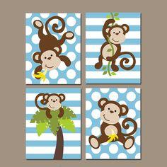Boy monkey wall art, canvas or prints, monkey nursery decor, bat Boys Bedroom Decor, Baby Room Decor, Nursery Decor, Nursery Ideas, Jungle Nursery Boy, Monkey Nursery, Monkey Baby Rooms, Baby Boy Rooms, Deco Jungle