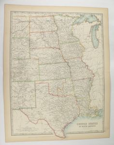 Antique Map Central Us Map United States Map 1905 Johnston Map Texas Oklahoma Map Louisiana Missouri Map Minnesota Nebraska Map Midwest