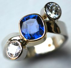 Sapphire and diamond 'cut on the cross' ring Diamond Cuts, Sapphire, Cufflinks, Jewels, Rings, Accessories, Jewerly, Ring, Jewelry Rings