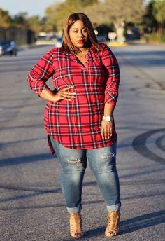 Plus Size Clothing for Women - Jessica Kane Plaid Print Tunic (Sizes 16 - 20) - Society  - Society Plus - Buy Online Now! Women Big Size Clothes - http://amzn.to/2ix7dK5