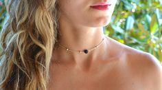 New black volcanic lava stone necklace. Dainty Necklace, Stone Necklace, Crystal Necklace, Beaded Necklace, Rock Necklace, Layered Necklace, Necklaces, Silver Choker, Silver Beads