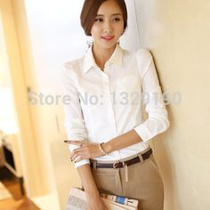 Free-Shipping-New-Arrival-Fashion-Business-Formal-Work-Wear-Women-Long-Sleeve-Elegant-Blosue-White-Collar.jpg (460×460)