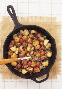 This recipe is just the ticket, made with skin-on red potatoes and chopped onions.
