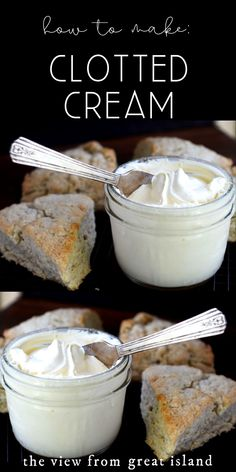 Clotted Cream a spreadable cream for afternoon tea and scones.Homemade Clotted Cream a spreadable cream for afternoon tea and scones. Clotted Cream Recipes, Clotted Cream Recipe Slow Cooker, Just Desserts, Dessert Recipes, Afternoon Tea Recipes, Afternoon Tea At Home, Afternoon Tea Parties, Cooking Recipes, Easy Recipes