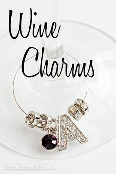 Design your own photo charms compatible with your pandora bracelets. These diy wine charms are a great way to add a little bling to a birthday party or girls' night. Wine Glass Crafts, Wine Craft, Bottle Crafts, Diy Wine Glasses, Customised Gifts, Wine Parties, Craft Night, Girls Night Crafts, Wine Charms