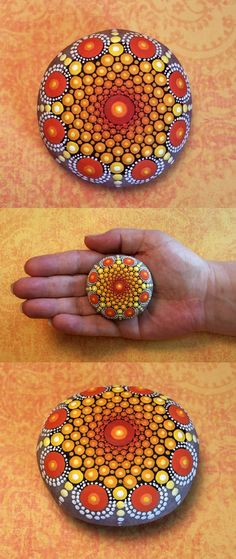 "Mandala Stone (Junior) by Kimberly Vallee: Hand painted with acrylic and protected with a matt finish, this ""junior"" stone is a bit smaller than my usual stones, at about 2"" diameter. It is one-of-a-kind."
