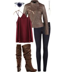 leather jacket + spaghetti strap tank + skinny jeans + riding boots