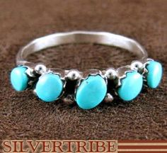 Zuni Indian Jewerly Genuine Sterling Silver And Turquoise Ring