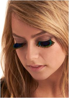 The Indie design hub ModCloth offers these fake eyelashes that are made to look like the plumage of a peacock. Alex is currently fluttering his own pair here at the office, and they look simply gorgeous. Feather Eyelashes, Faux Lashes, Fake Eyelashes, Long Lashes, Eye Makeup Tips, Beauty Makeup, Hair Beauty, Makeup Stuff, Makeup Ideas