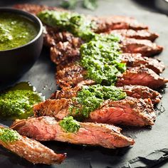 Homemade Cooked Skirt Steak with Chimichurri by Brent Hofacker - Photo 162166021 - Grilled T Bone Steak, Spicy Steak, Dinner Dishes, Food Dishes, Skirt Steak Tacos, Steak With Chimichurri Sauce, Cooking With Charcoal, Beef And Potatoes, Bbq Beef