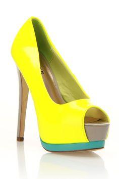 Glaze Celine-1 Pumps In Neon Yellow - Beyond the Rack