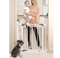 Baby Gate Walk Thru with Swing Door in White - Pressure Mount Safety for Doorways, Stairs, or Hallways is Best for Pets, Babies and Dogs - Portable Design for Indoor or Outdoor Use With Auto Locking ** Startling review available here  : Dog gates