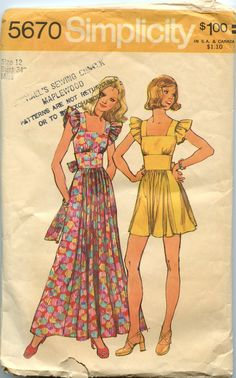 1970's Dress Pattern Simplicity 5670 Wide Midriff Maxi or Mini Dress Bust 34. $8.00, via Etsy.