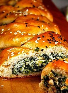 Spinach and ricotta stuffed challah. Shabbat just hit a whole new level.