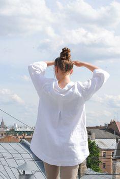Pastel rose linen tunic, linen tunic with pockets, linen tunic for women, linen summer top, linen blouse Linen Dress Pattern, Tunic Sewing Patterns, Linen Tunic Dress, Linen Blouse, Blouse Patterns, Linen Dresses, Riga, Kurta Designs, Dress Designs