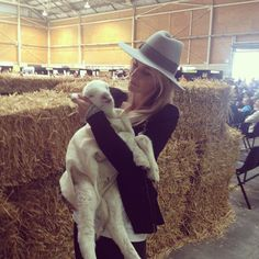 Kirsten from Lanolips with 'Sweetie' the 2-week old lamb at The Royal Easter Show, 2012