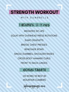 Total Body Strength Workout With Dumbbells
