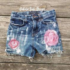 Girls Shorts, 7, Painted Rose Shorts, Distressed Shorts, Girls Distressed Shorts, Distressed Jeans, Distressed Jean Shorts, Girls Blue Jeans