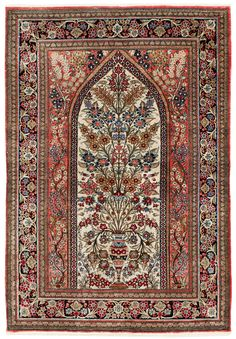 Persian Qum silk rug--Tree of LIfe design