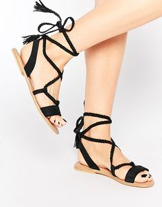 Buy ASOS FLEUR Suede Tie Leg Sandals at ASOS. With free delivery and return options (Ts&Cs apply), online shopping has never been so easy. Get the latest trends with ASOS now. Dressy Sandals, Cute Sandals, Lace Up Sandals, Open Toe Sandals, Gladiator Sandals, Black Sandals, Ballerinas, Black Tie Shoes, Shoe Boots