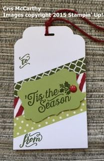Craftastic Days with Stacy: Christmas in October Tags - Part 1 - Season of Cheer Washi Tape; Oh, What Fun Stamp set;  Home for Christmas Enamel Dots, Curvy Corner Trio Punch; #stampinup; #holidaycatalog2015