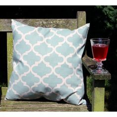 Duck Egg Fretwork Cushion - Home Accessories by Lily & Moor. Visit www.lilyandmoor.co.uk for beautiful products and inspiration!