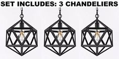 Set Of 3 Chandeliers - Wrought Iron Polyhedron Pendant Chandelier Lighting - O Pendant Chandelier, Chandelier Lighting, Chandeliers, Rustic Loft, Industrial Loft, Rustic Pendant Lighting, Wrought Iron, Ceiling Lights, Chandelier
