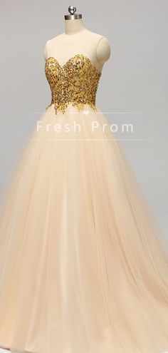 A-Line See Through Round Neck Sleeveless Tulle Long Prom Dresses With – FreshProm Designer Formal Dresses, Fitted Prom Dresses, Prom Dresses For Teens, A Line Prom Dresses, Prom Dresses With Sleeves, Long Bridesmaid Dresses, Cheap Prom Dresses, Elegant Dresses, Beaded Prom Dress