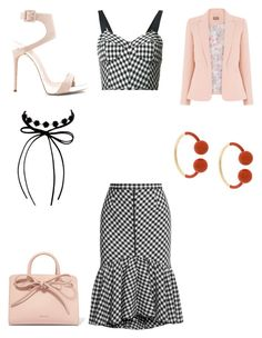"""Gingham skirt"" by bethanyyk on Polyvore featuring Tome, Giuseppe Zanotti, Mansur Gavriel, Erica Lyons and J.W. Anderson"