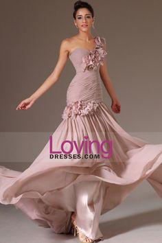2014 de um ombro plissado corpete bainha / coluna vestido de noite chiffon com flores Handmade