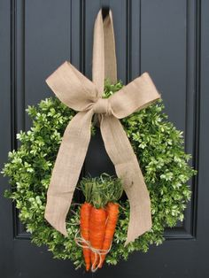 Boxwood Wreaths XL, Easter Wreaths, Spring Wreaths, Burlap, Boxwood Wreath, Door Wreaths, Carrot Decor, Easter Bunny Carrots. $115.00, via Etsy.