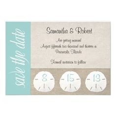 Sand Dollar Beach Wedding Save the Date Personalized Invitation