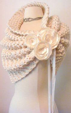 This is just so pretty - Wedding Shawl / Bride Bolero /Shrug / Ivory Shawl with flowers / Winter Wedding / Custom Hand Knit. $110.00, via Etsy.