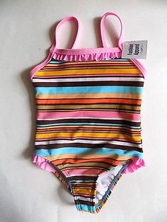 Baby Girl One Piece Ruffle Swimsuit sz 6-9 Months Pink Blue Brown Striped