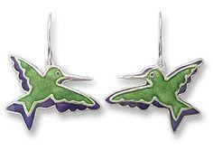 Hummingbirds in Silhouette Sterling Silver & Enamel Dangle Earrings by Zarah