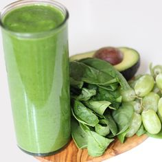 Ingredients  2 cups spinach leaves, packed 1 ripe pear, peeled, cored, and chopped 15 green or red grapes 6 ounces fat-free plain Greek yogurt 2 tablespoons chopped avocado 1 or 2 tablespoons fresh lime juice