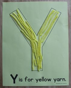 Y is for yellow yarn. Editable ABC pages for letter of the week activities. Alphabet activities for preschool, pre-k, and early childhood education. Create a letter book or use for letter of the week activities.