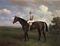 Sir James Millers dark bay racehorse Rock Sand with jockey up by Emil Adam