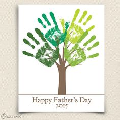 Fathers Day Printable Gift DIY Child's Handprint Tree by peachwik