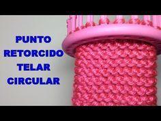 PUNTO RETORCIDO CURSO TELAR CIRCULAR   Puntada 38   Twisted Stitch - YouTube Loom Knitting For Beginners, Round Loom Knitting, Loom Knitting Stitches, Knifty Knitter, Loom Knitting Projects, Easy Knitting Patterns, Yarn Projects, Loom Patterns, Cross Stitches