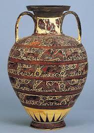 Anfora Corinzia ceramica dipinta a figure nere, ca. 620 a.C. Ritrovata a Rodi, Grecia. Oggi si trova esposta al Walters Art Museum, Baltimora, USA.