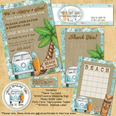 Surf Shack Birthday Printable Party Package -- Bear River Photo Greetings