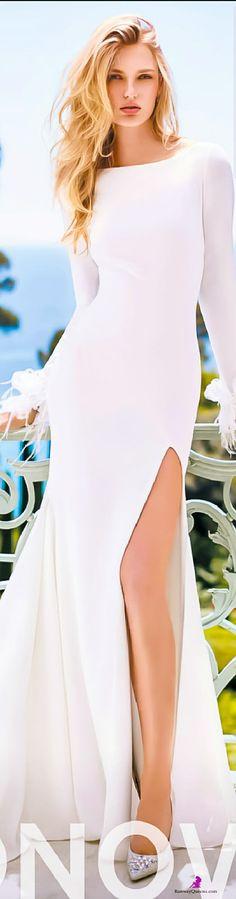 Fashion 2017, Pronovias, white, leg slit
